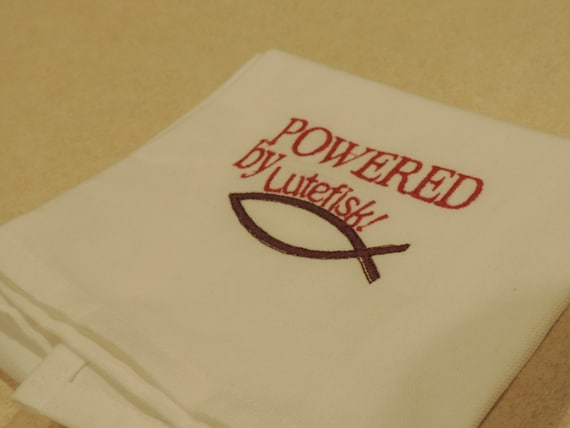 Lutefisk Towel, Powered by Lutefisk, Norwegian gifts, gift for Swedes, Scandinavian gift, swedish hostess gift, Minnesota gift