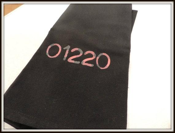 buffalo plaid towel, Red Plaid Zip Code towel, zip code gift, housewarming gift, moving away gift, college student gift, closing gift
