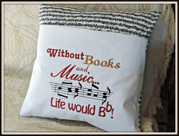 Pocket book pillow, music lover pocket pillow, life would be flat without books,  music and book pillow, Music lover gift, book lover
