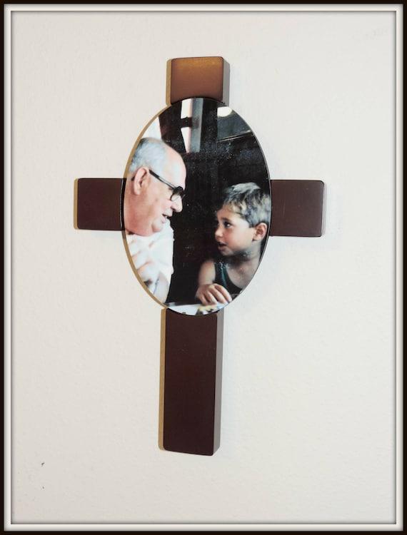 Photo cross, memorial cross, Mahogany cross plaque, wooden cross, personalized cross, rainbow baby gift, Communion gift, wooden cross plaque