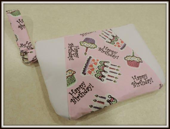birthday wristlet, birthday clutch, date night wristlet, birthday gift wristlet, happy birthday bag, birthday purse, birthday gift purse