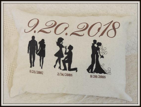 Anniversary pillow, wedding pillow, wedding Silhouettes, wedding date pillow, Mr and Mrs pillow, custom dates, anniversary gift