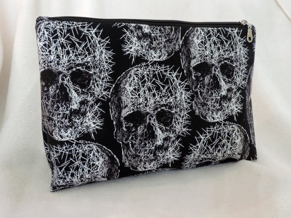 skull cosmetic bag, skull makeup bag, goth bag, skeleton toiletry bag, grunge pouch, skull accessory, ready to ship bag, last minute gift