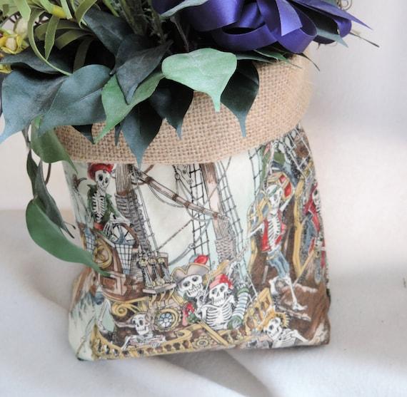 skeleton plant cover, burlap plant cover, dancing skeleton plant cover, day of the dead slouchy basket, scallywag basket, skeleton basket,
