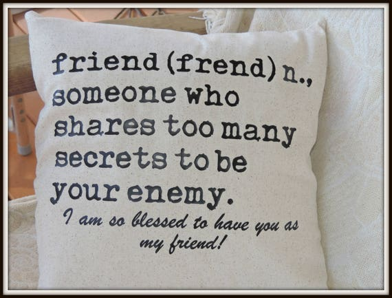 friend definition pillow, your friend pillow, best friend gift, BFF gift, typography pillow, friendship gift, best friend gift