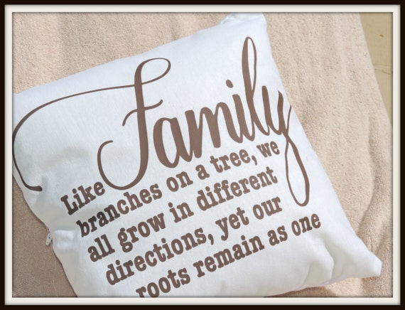Family tree pillow, family roots throw pillow, family union gift, family wedding gift, leaving home gift, college student gift