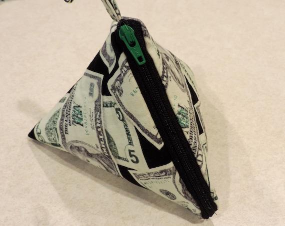 money triangle purse, pyramid pouch, pyramid coin pouch, triangle pouch, fashion purse, money coin purse