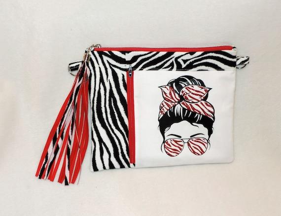 zebra clutch, zebra glitter clutch, zebra crossbody, zebra wristlet, red glitter zebra bag