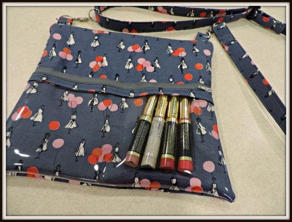 lipsense display bag, clear pocket bag, grey catalog display bag, lip gloss bag, direct sales bag, catalogue display purse, presenter bag