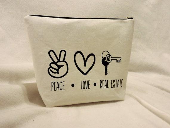 real estate agent bag,  agent gift, real estate cosmetic bag, real estate occupation gift, real estate gifts
