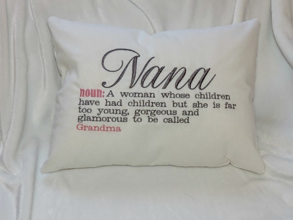 Nana definition pillow too young and glamorous to be called grandma pillow, pregnancy reveal gift, grandmother gift throw pillow
