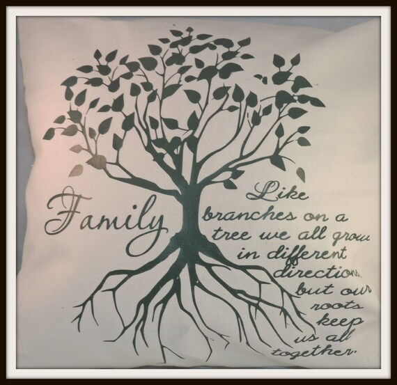 Family Tree pillow, family roots, back to school, family reunion gift, parent gift pillow, adoptee pillow, college student gift, dorm decor