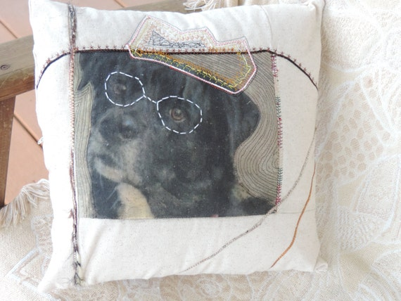 Custom Pet portrait pillow cover, pet graffiti pillow cover, pet fiber art, dog lover gift, cat lover gift, pet remembrance gift