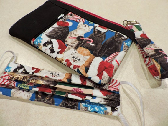Holiday cat clutch, christmas kitty clutch, cat wristlet, double zip pouch, cat face mask, holiday face mask, cat purse organizer