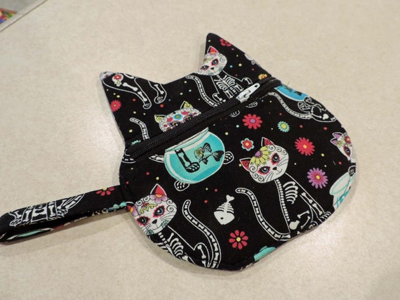 cat pouch, cat Keychain Coin Pouch, Cat skeleton bag, day of the dead cat bag, Cat bag, cat coin purse, cat purse charm, cat lover gift