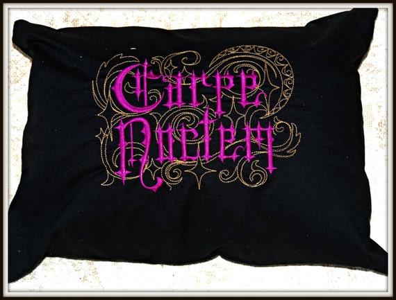 Carpe Noctem pillow, seize the night pillow, gothic home decor, night lover, night owl, black wedding, romantic gift for him, halloween