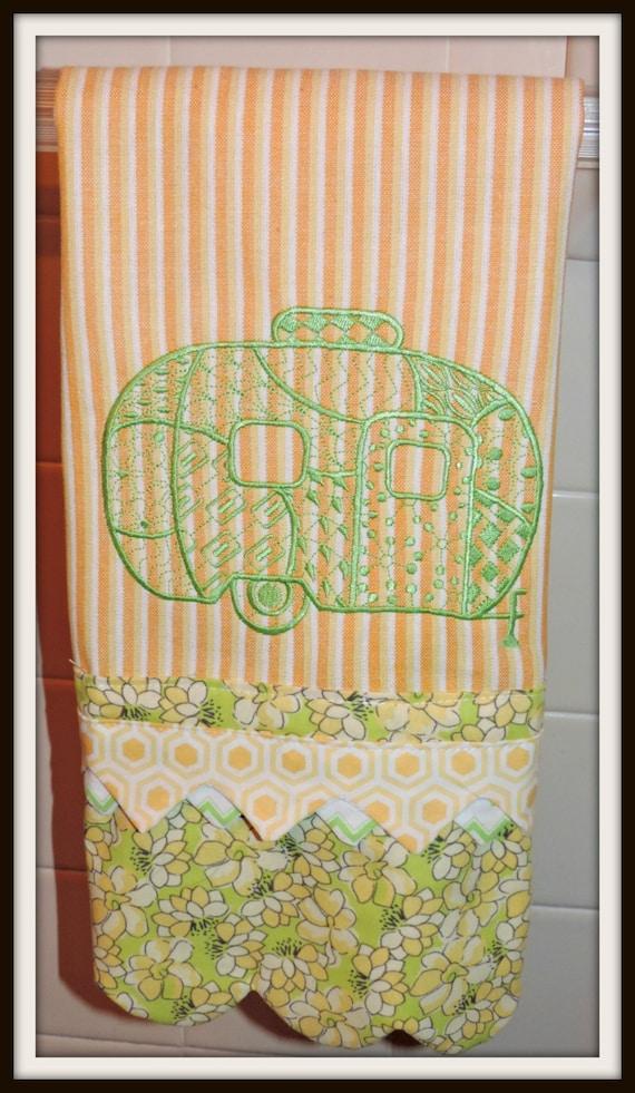Glamper Airstream towel, glamper towel, Camper themed embellished towel, Glamping towel, green and yellow towel, retro camping towel,