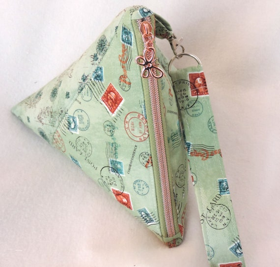 postal Triangle purse, top handled purse, pyramid mail pouch, postal wristlet, triangle pouch, postal worker appreciation, mail lady gift