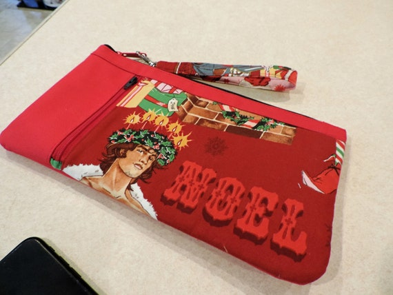 Holiday clutch, Christmas clutch, sexy hunk wristlet, gift for Jane, double zip pouch, dirty santa gift, noel clutch, holiday organizer bag