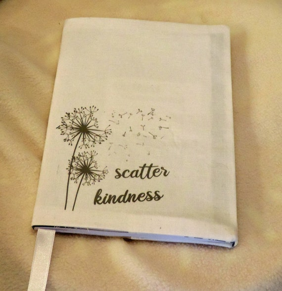 scatter kindness composition notebook cover, dandelion notebook cover, ready to ship gift, inspirational gift, fabric notebook cover
