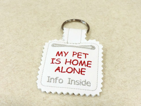 pet home alone key fob, pet is home alone, pet safety keychain, dog is home alone, cat is home alone, pet owner gift, pet lover gift