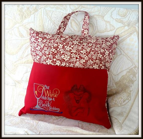 book club pillow, reading pocket pillow, wine lover pillow, book club reading cushion, wine lover gift, reading gift, book lover gift