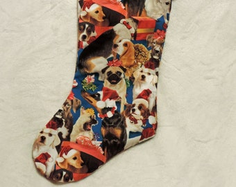 Christmas Dog Stocking, Dog holiday stocking, Unique Christmas Stocking, dog lover stocking, dog lover gift, dogs in hats stocking