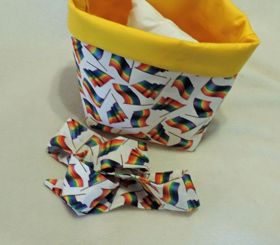 rainbow flag basket, LGBTQ gift, hug in a basket gift, air hug gift, basket filler pillow, quarantine gift, fabric plant cover, pride basket