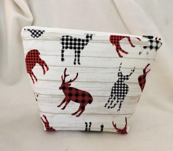 buffalo plaid cosmetic bag, elk cosmetic bag, moose bag, girl hunters toiletry bag, Minnesota gift, farmhouse bag, Montana gift