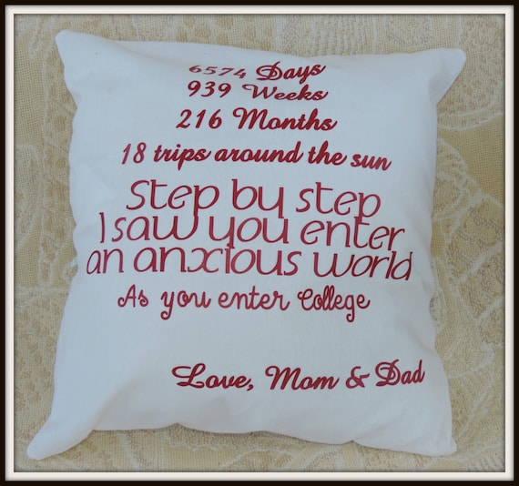 college student gift, Going to college gift, graduation gift, dorm decor, college decor, college support pillow, parent personalized gift
