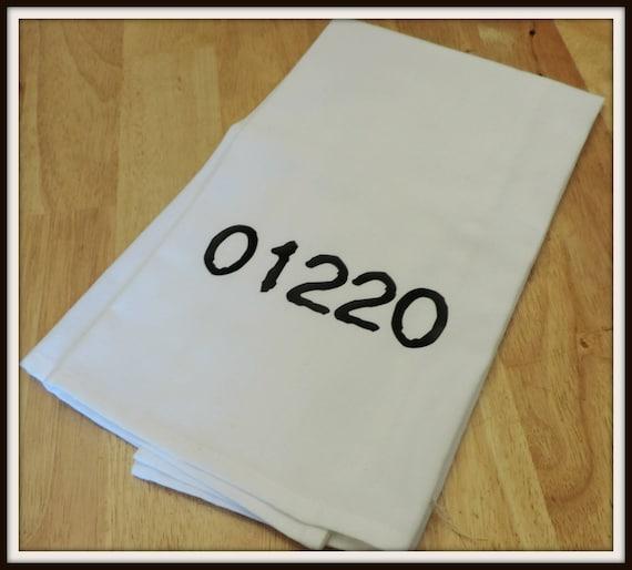 zip code towel, zip code tea towel, your city towel, hometown gift, agent gift, closing gift, housewarming gift,
