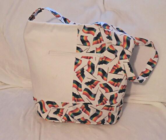 Rainbow flag purse,  LGBTQ pride, gay bucket purse, Pride 2020, lesbian girlfriend gift, gay shoulder bag, lesbian slouchy bag