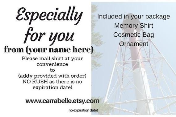 Memory Shirt gift card, Memory shirt certificate, Holiday gift card, Gift for her, Gift for him, Memory gift card, Memory shirts, Grief Gift