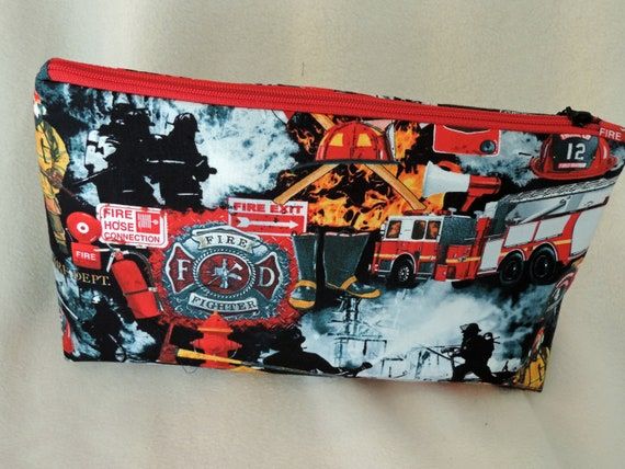 fire fighter cosmetic bag, fire fighter gift, female fire fighter, fire inspector gift, ready to ship bag, last minute gift