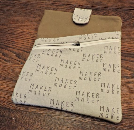 Makers book sleeve, Makers planner cover, crafty book cover, etsy artisan book cover, planner cover with pocket, planner organizer