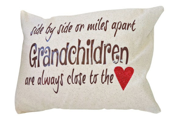 side by side or miles apart grandparents pillow, grandparents day gift, miles apart grandchildren pillow, grandchildren close to the heart