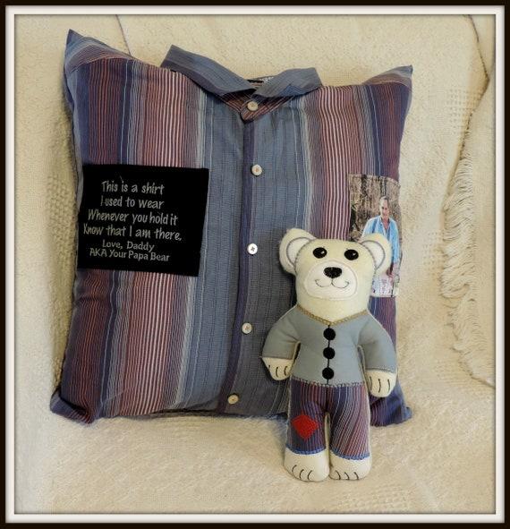 Memory pillow from shirt, Memory bear from shirt, Memory bag, memory ornament, keepsake shirt, sympathy gift, grief gift, memorial gift