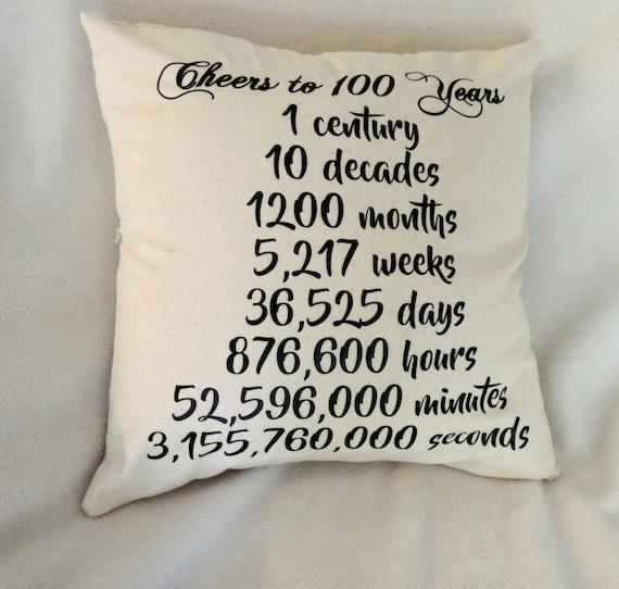 100th birthday gift, 100th countdown, milestone birthday gift, 100th birthday pillow, 1921 birthday,  gift for grandma, born in 1921