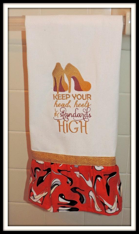 Keep your heels and your standards high, red bottom shoe towel, embellished kitchen towel, shoe lover towel