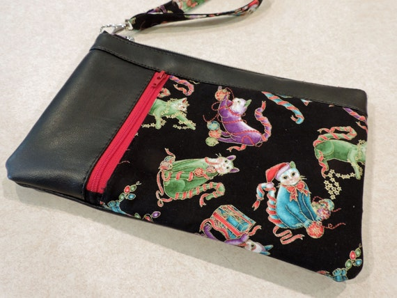 Holiday cat clutch, christmas kitty clutch, cat wristlet, double zip pouch, cat lover gift, cats in lights, cat purse organizer