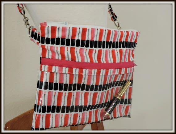 clear pocket bag, lipgloss print crossbody bag, lipstick lipgloss bag, lipstick rep bag, direct sales purse, catalogue display purse