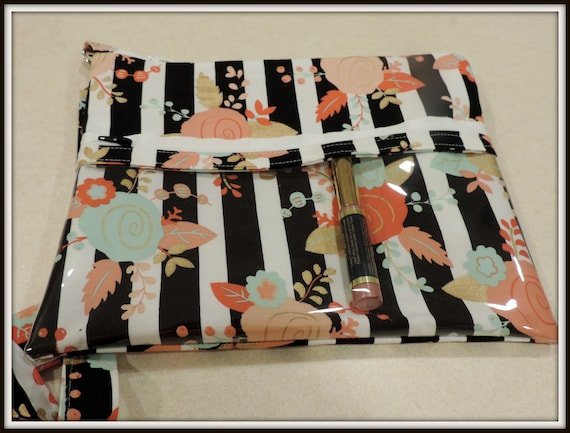 Rose Gold clear pocket bag, catalogue crossbody bag, striped pocket bag, lipstick rep bag, direct sales purse, catalogue display purse