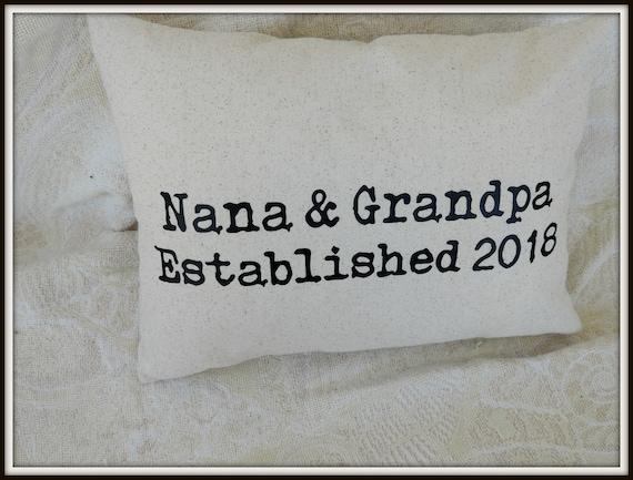 grandma pillow, grandpa pillow, grandma to be gift, pregnancy announcement,  grandparents day gift, nana gift, grandparents established by