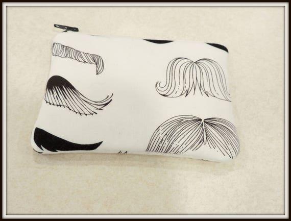 mustache organizer bag, mustache cosmetic pouch, novelty cosmetic bag, mustache lover gift, electronics bag, teacher gift
