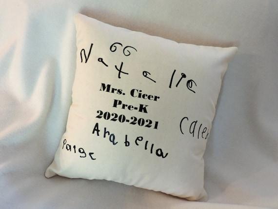 handwriting pillow, back to school, teacher gift, teacher appreciation, child handwriting pillow, child art pillow, child drawing