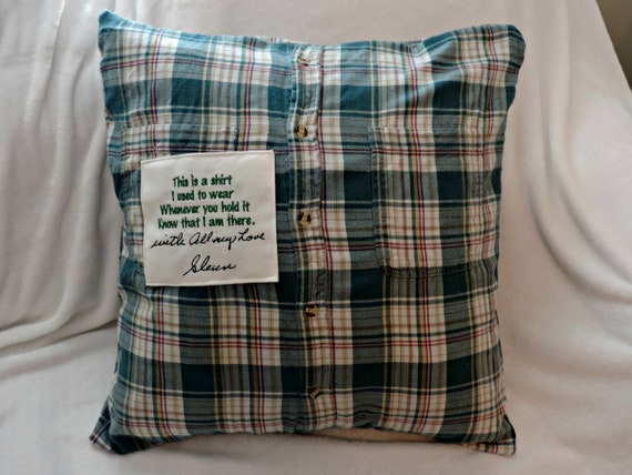 handwriting Memory pillow, memory pillow from shirt, keepsake shirt, sympathy gift for loss of dad, grief gift, memorial gift, in memory of