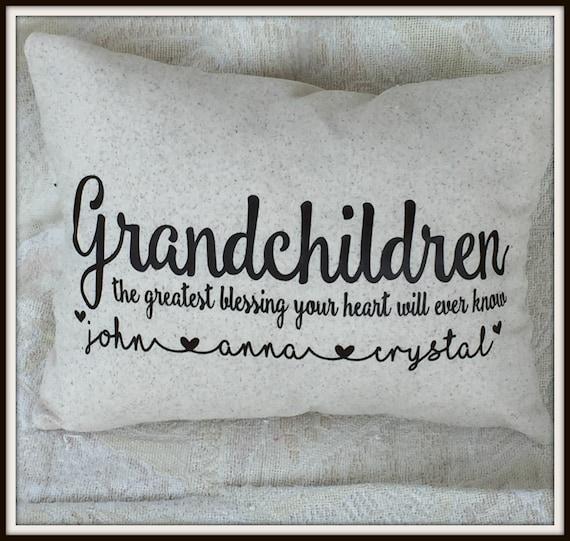 grandchildren names pillow, pillow with names of grandchildren, grandparents day gift, grandkids names, family names gift, grandparents day