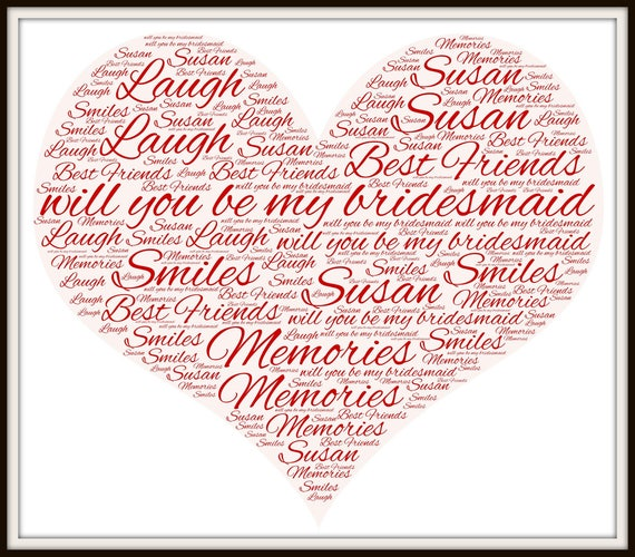 will you be my bridesmaid word cloud, your wedding digital print, gift for wedding party, digital jpeg word cloud, maid of honor gift