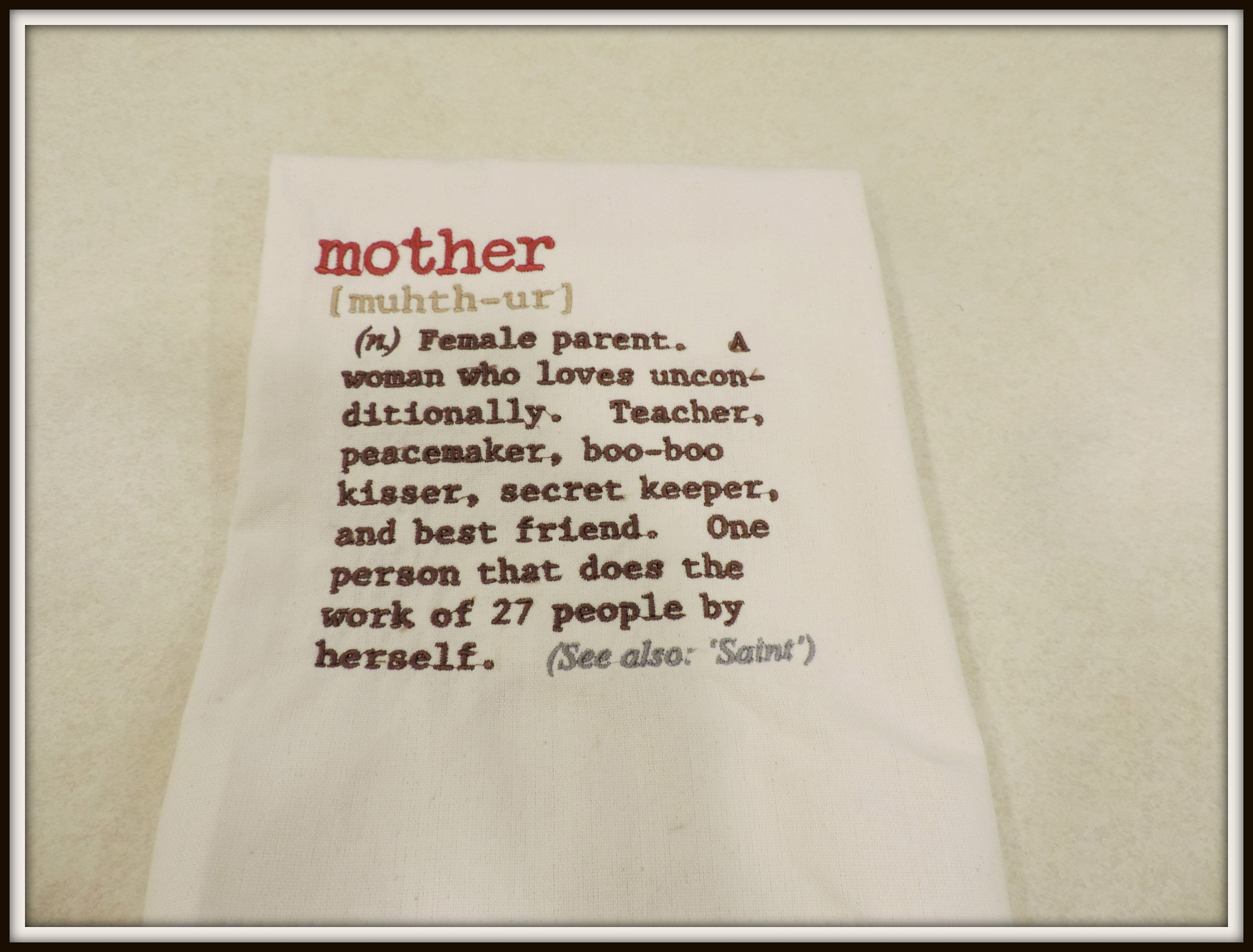 Mother Definition Towel Mom Definition Towel Gift For Mom Mom S Kitchen Towel Mother Is A Saint Towel