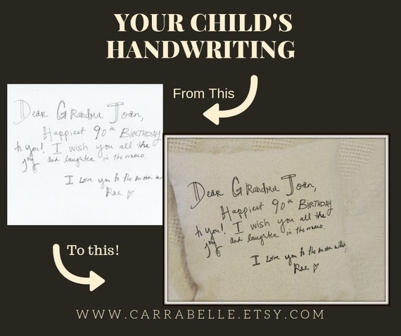 your child's writing, your child's handwriting, grandparent gift, handwritten note, keepsake pillow, handwriting gift, remembrance gift